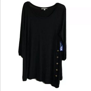 3/4 Sleeve Side Button Detail Top Black 3X
